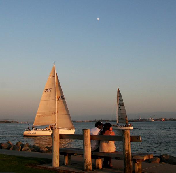 Harbor Island, Romantic Couple with Moon