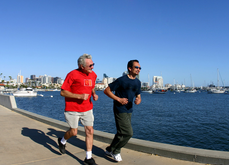 Runners Along San Diego Embarcadero