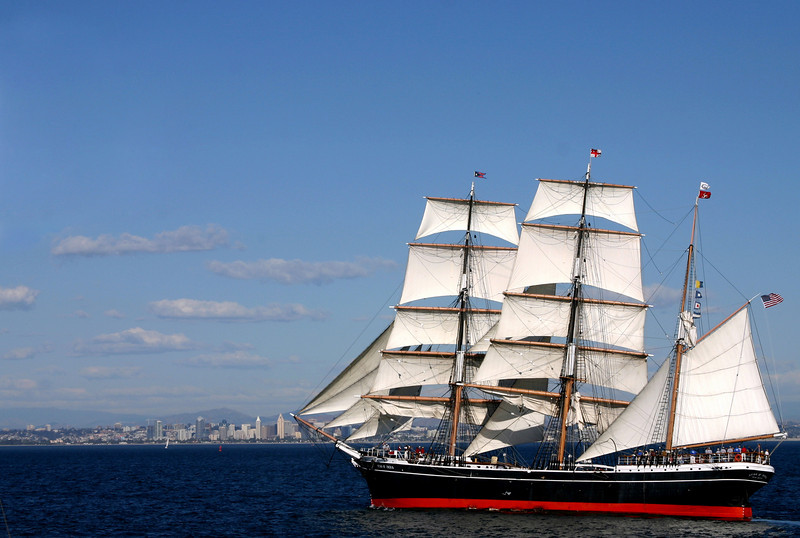 Star of India Under Sail with Skyline Backdrop