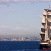 Star of India Under Sail with View on San Diego Skyline