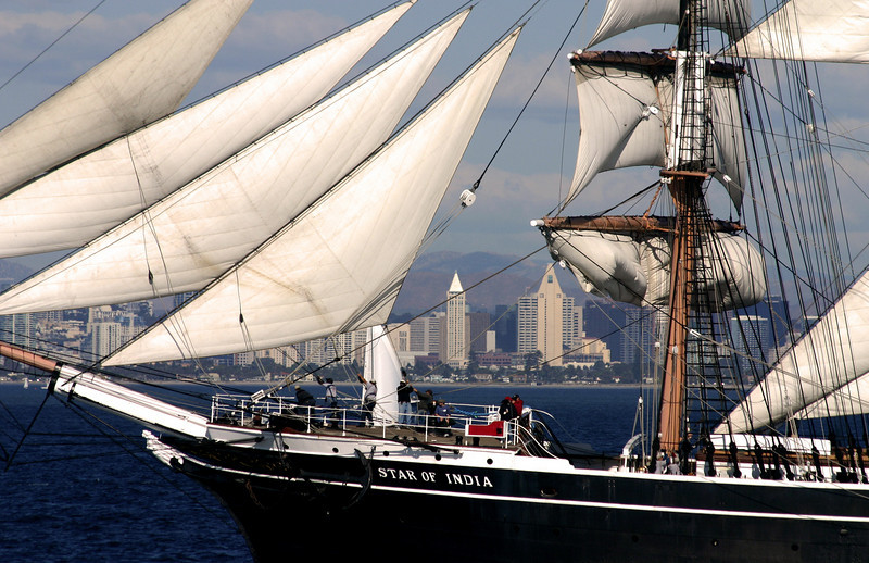 Star of India Under Sail with San Diego Skyline