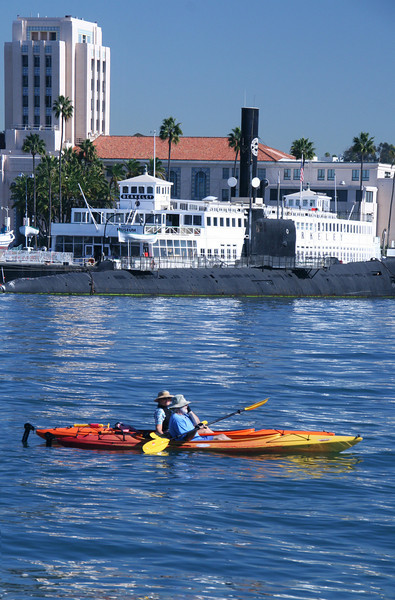 Kayakers and San Diego Maritime Museum