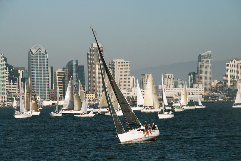 San Diego Skyline, Sailboats in San Diego Bay with Skyline