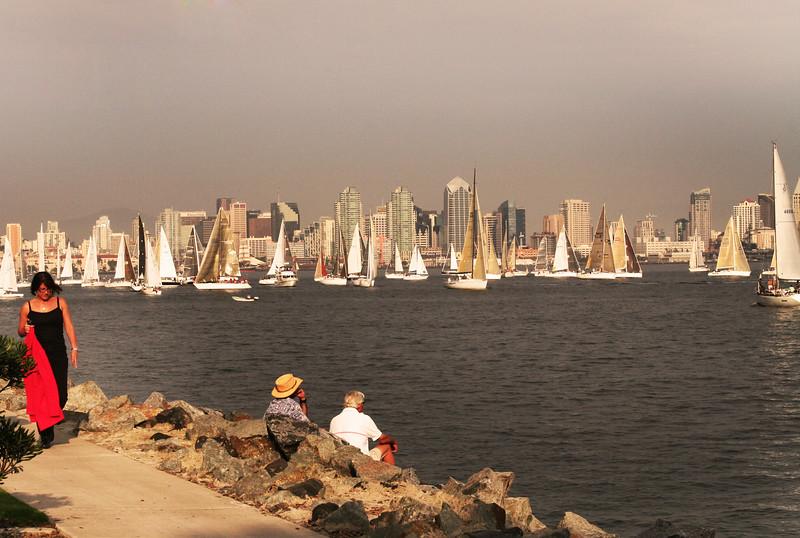San Diego Skyline, View from Harbor Island onto San Diego Skyline