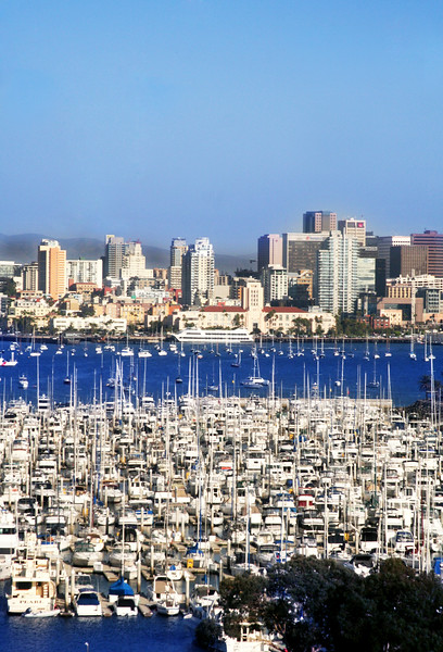 San Diego Skyline, Portrait View from Sheraton Harbor Island