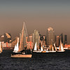 San Diego Skyline, Sailboats in Bay at Dusk