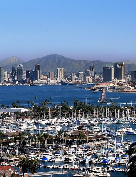 San Diego Skyline, View Across Bay from Pt  Loma, horizontal
