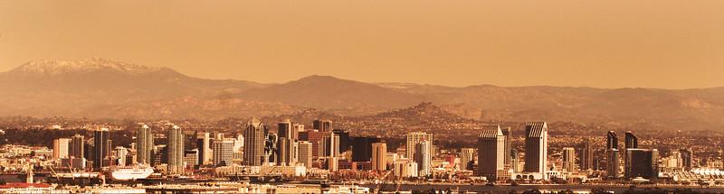 San Diego Skyline, Duotone of Skyline from Pt  Loma Peninsula