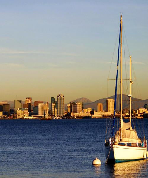 San Diego Skyline, Sailboat and Skyline at Sunset