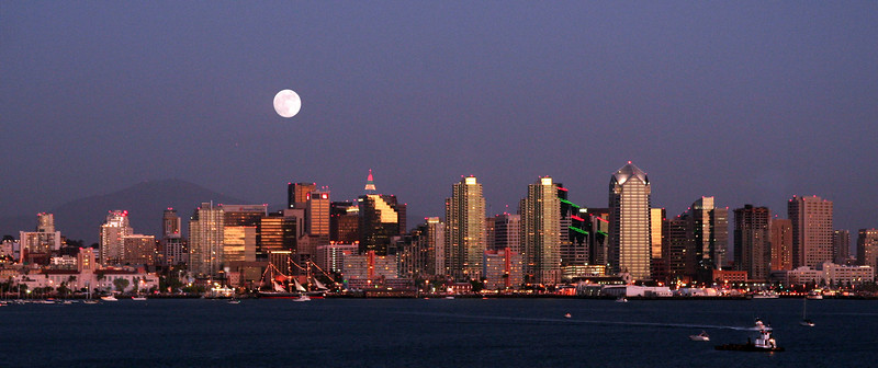 San Diego Skyline, Holiday View with Full Moon