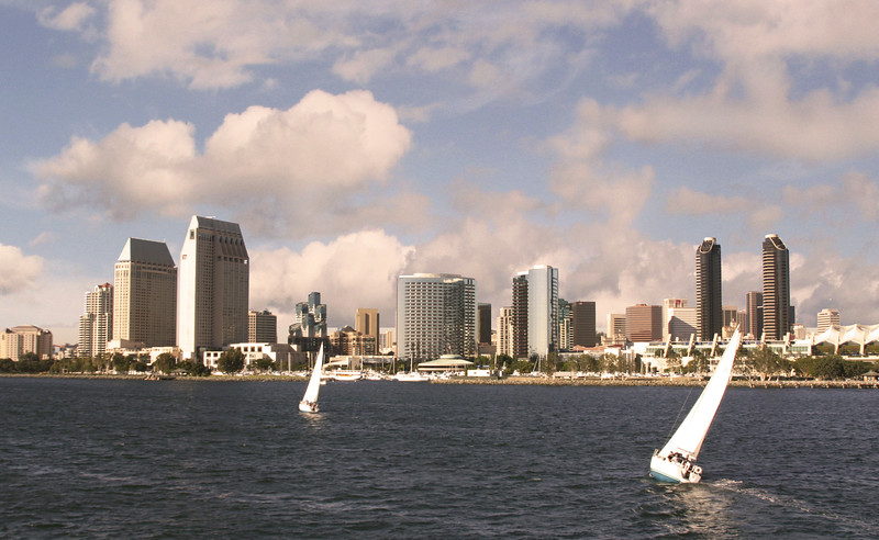 San Diego Skyline, Sailboats in Bay