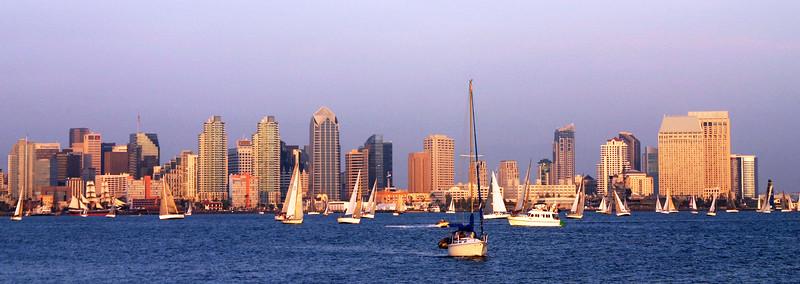 San Diego Skyline, Horizontal View at Dusk with Sailboats