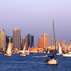 San Diego Skyline, Horizontal View at Dusk with Sailboats