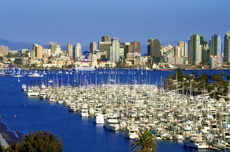 San Diego Skyline, Landscape View from Sheraton Harbor Island