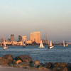 San Diego Skyline, Runner at Sunset From Shelter Island