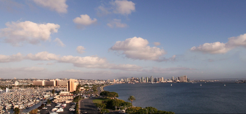 San Diego Skyline, View on City & Coronado Bridge from Harbor Island