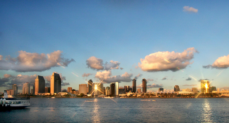 San Diego Skyline, Star Filter Sunset from Coronado