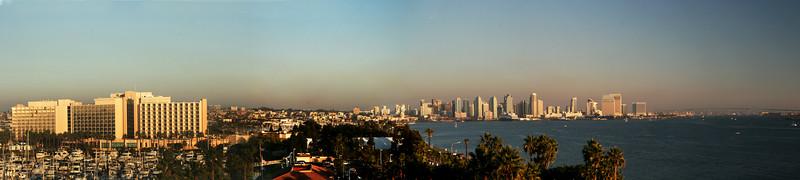 San Diego Skyline, Panorama at Sunset from Harbor Island