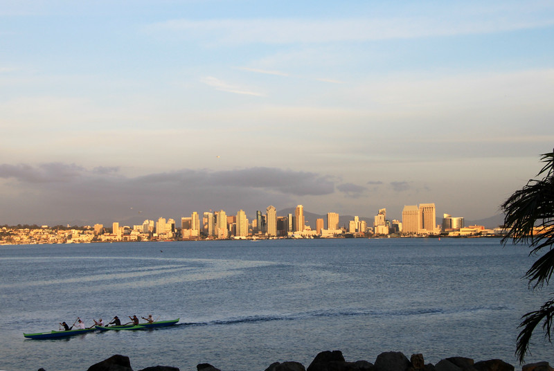 San Diego Skyline, View From Shelter Island with Kayak