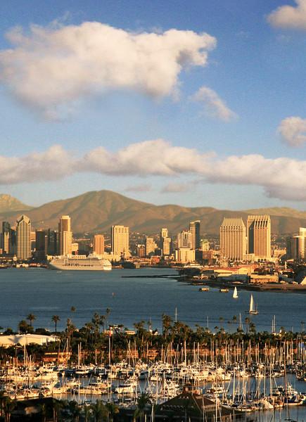 San Diego Skyline, View on Skyline & Cruise Ship at Dusk