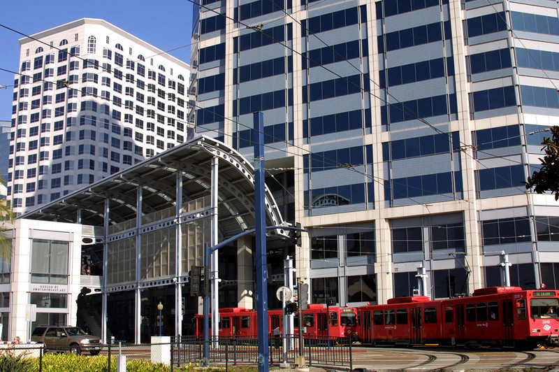 San Diego Trolley Leaving Downtown from America PlazaHug
