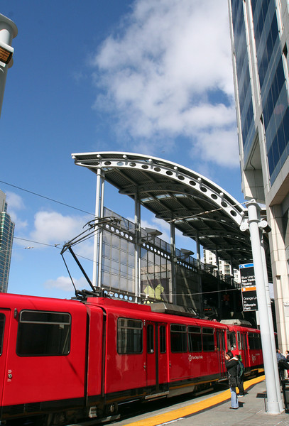 San Diego Trolley, Vertical with Passenger at America Plaza