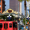 San Diego Gaslamp Quarter Sign & Trolley