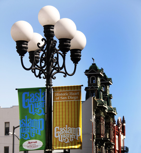 San Diego Gaslamp Quarter, Banners & Buildings