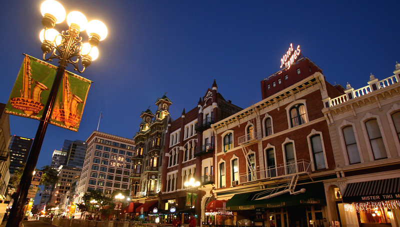 San Diego Gaslamp Quarter Historical Buildings and Banner