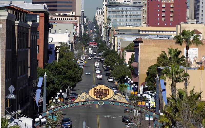 San Diego Gaslamp Quarter View Down Fifth Avenue