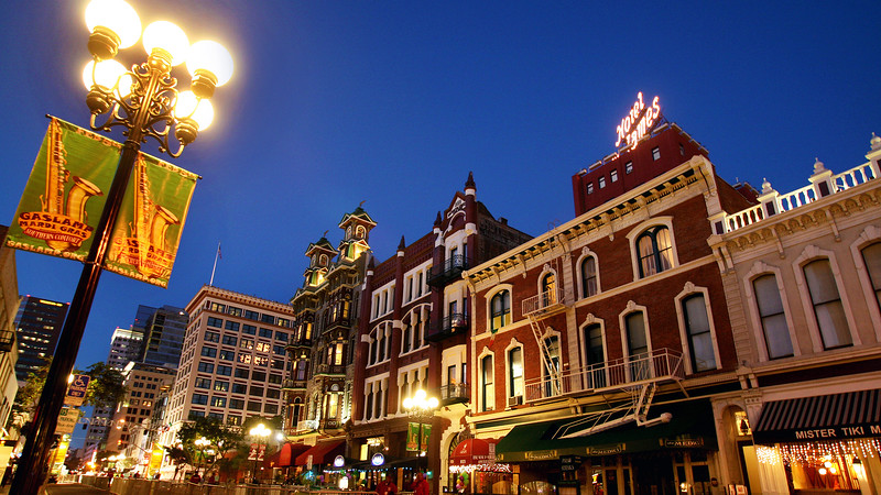 Gaslamp Quarter View with Gaslamp