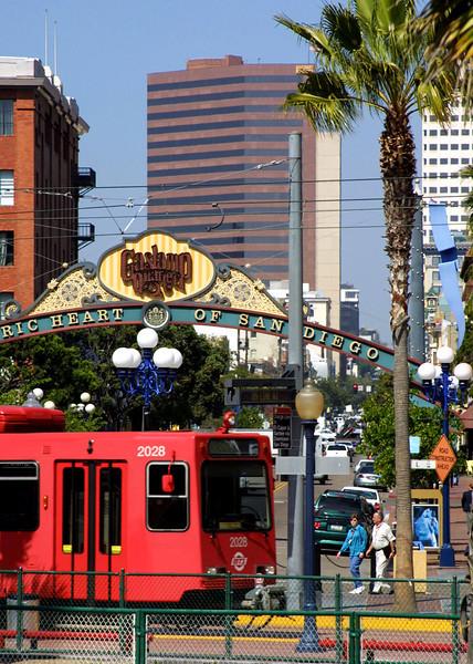 San Diego Gaslamp Quarter Sign & Trolley