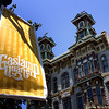 San Diego Gaslamp Quarter with Yellow Banner