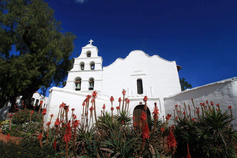 Mission Basilica de Alcala San Diego, Front View with Blooming Plants