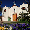 Mission Church, Barona Indian Reservation with Spring Blooms