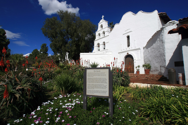 Mission Basilica de Alcala San Diego, View with Historical Sign