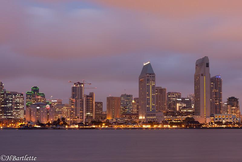 San Diegoskyline at dusk