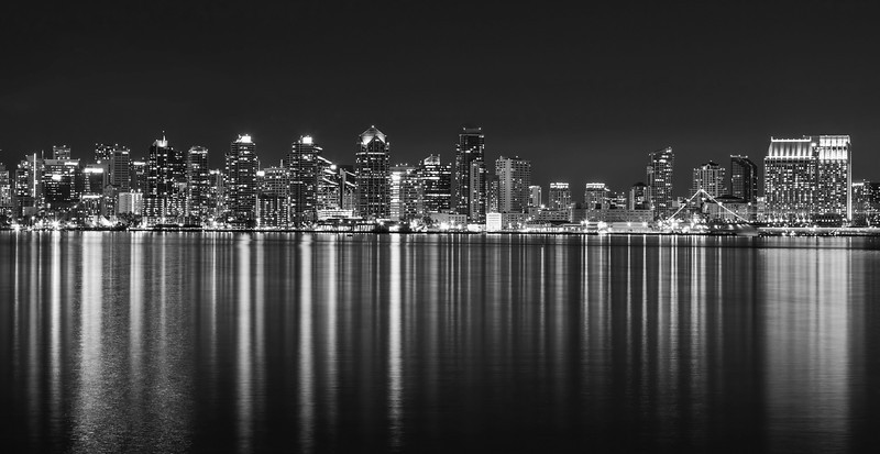 San Diego at night black and white