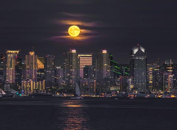 Moon rise, San Diego Skyline.