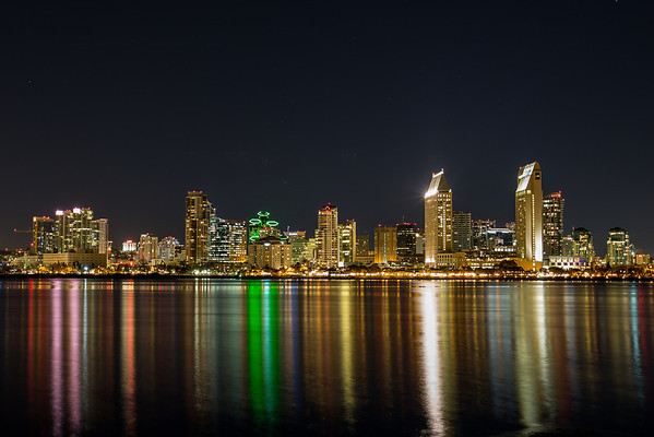 San Diego water front at night