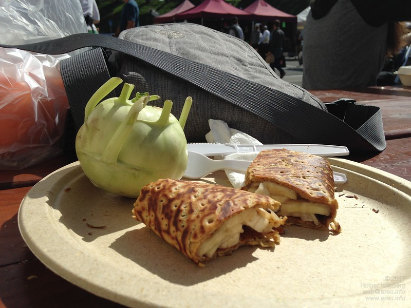 Gluten-free banana crêpe made from chickpea flour. Kohlrabi season just ended in California. Farmers' Market Ft Mason.