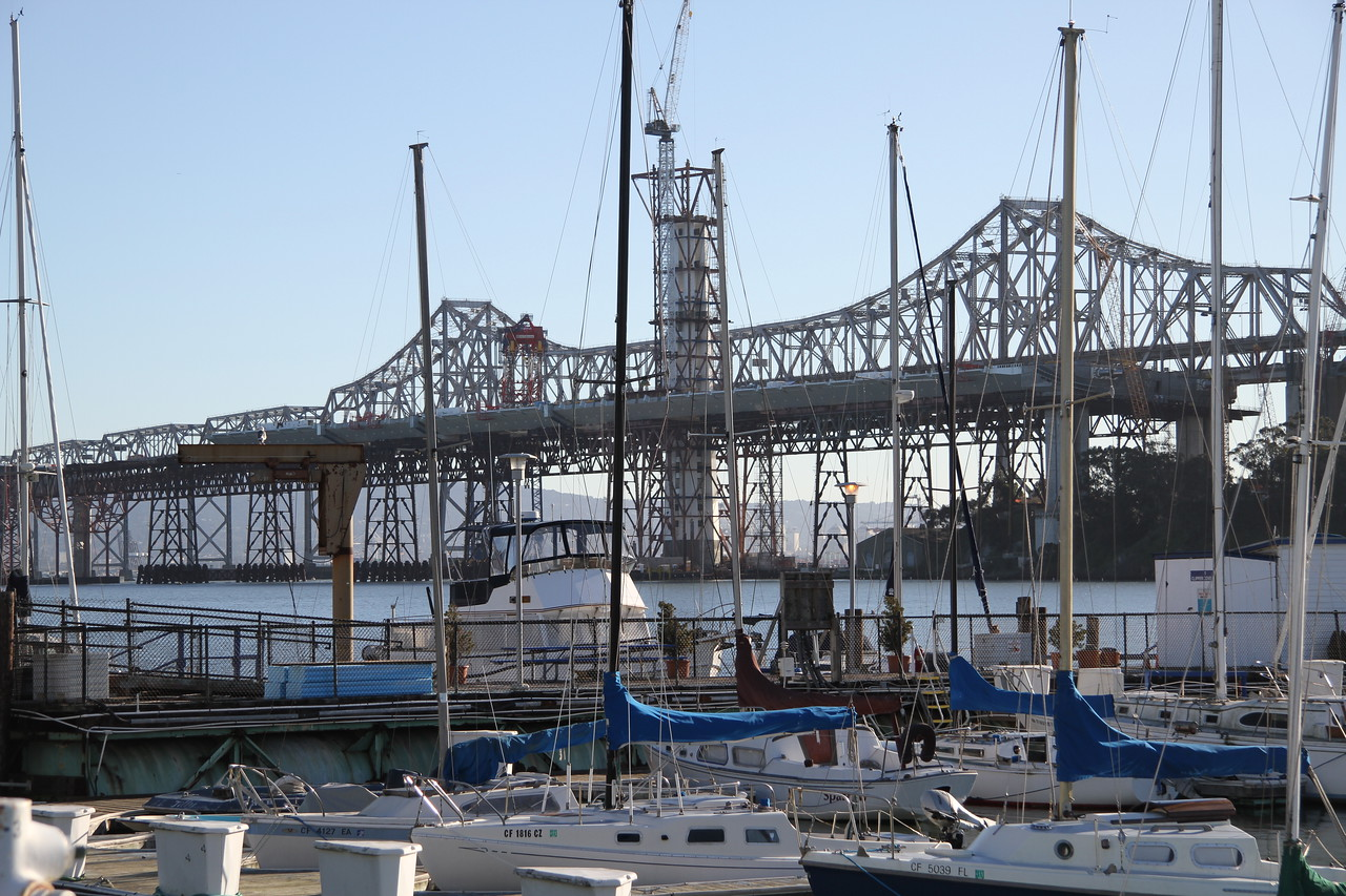 Bay Bridge under Construction from Treasure Island Marina
