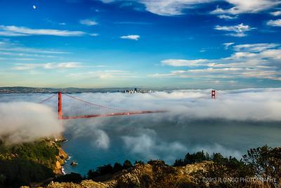 Blanketing the Golden Gate Bridge in fog