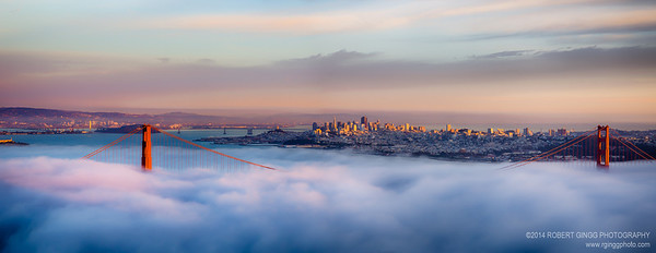 Golden Gate Bridge Foggy Sunset