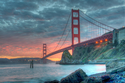 golden gate bridge -sunset-hdr