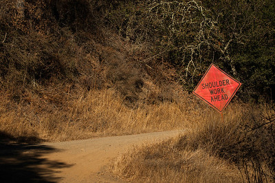 This sign was the last thing I expected to see while hiking the hills! However, around the corner there was a guy on a mini bulldozer working on the trail.
