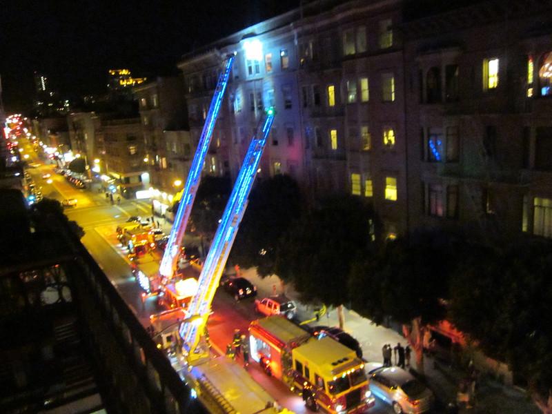 Evening Fire Department action across Geary Streeet