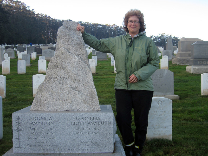 Lauri Wayburn stands by the monument to her parents that she planned and had made and orchestrated its placement in the national cemetery in the Presidio of San Francisco.