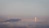 Bay Bridge Tower Peeking out on Foggy Morning, Oakland CA