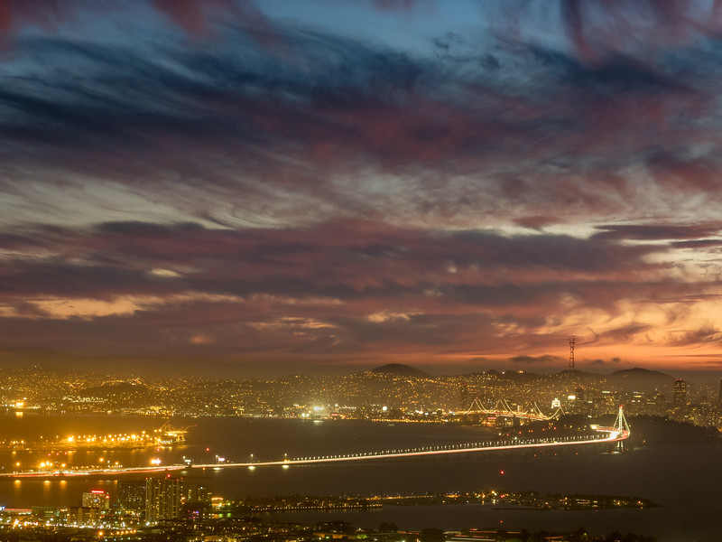 Bay Bridge and San Francisco Lights after Sunset, Berkeley CA